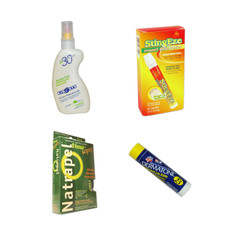 4-in-1 Package: Insect Repellent, StingEze Bite Relief, Lip Balm and Sunblock